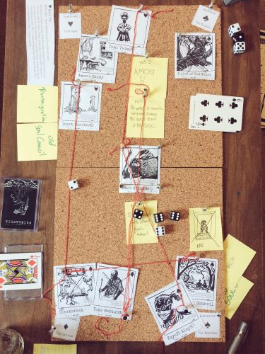 A finished Noirlandia cork board, featuring the Old Souls quickstart setting.