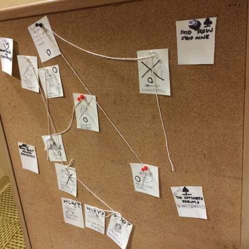Noirlanida being played on a corkboard.