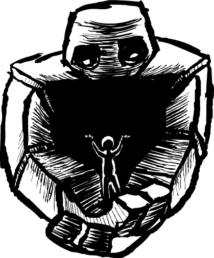 The people of this society sit pretty while enchanted golems do all the work. This particular golem delivers mail for the postal service.